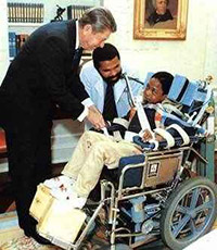 President Reagan meets Jonathan Magbie, quadriplegic who died in prison (marijuana)