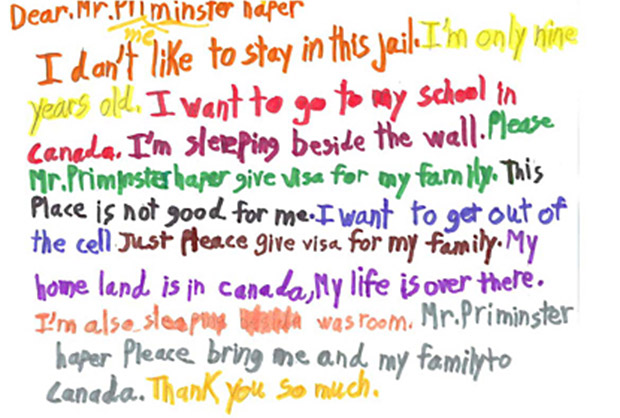 Child's letter to PM of Canada