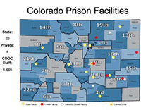 Map of prison facilities in CO (from CO news station)